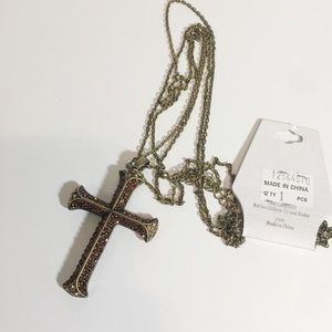New with flaws CRYSTAL AVENUE cross necklace.-A3.